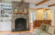 Rock fireplace and custom built-ins